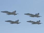 Hornet F/A-18 Axalp 2005.Vorne 2x F/A-18D hinten 2x F/A-18C